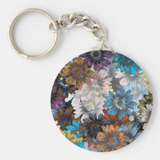 Blue and brown floral basic round button keychain