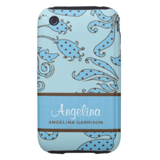 Blue and Brown Floral Retro Custom iPhone 3 Tough Cases