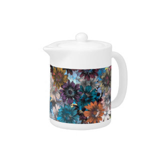 Blue and brown floral teapot