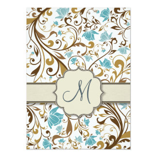 Blue and Brown Floral Vine Pattern with Monogram Card