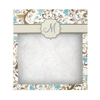 Blue and Brown Floral Vine Pattern with Monogram Notepad