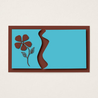 BLUE AND BROWN FLOWER BUSINESS CARD