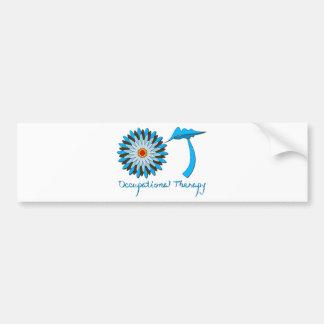 Blue and Brown Flower Power Bumper Sticker