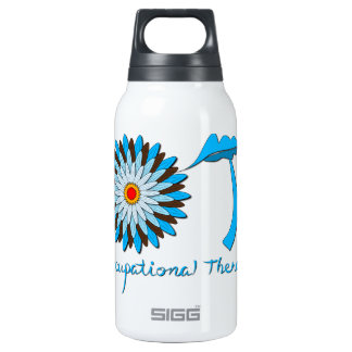 Blue and Brown Flower Power Insulated Water Bottle