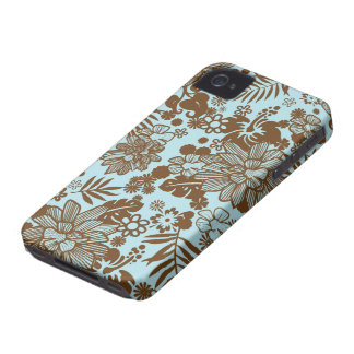 Blue and brown flowers stylish iphone 4 casemate iPhone 4 Case-Mate case