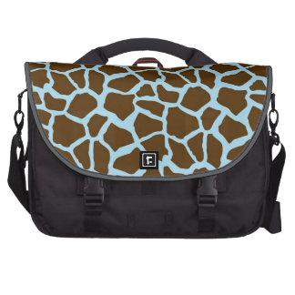 Blue and Brown Giraffe Animal Print Laptop Bags