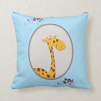 Blue and Brown Giraffe Baby Keepsake Pillow