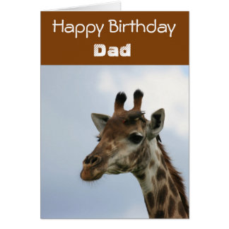 Blue And Brown Giraffe Birthday Card For Dad