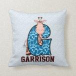 "Blue and Brown Giraffe Kid's Monogram ""G"" Pillow"