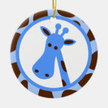 Blue and Brown Giraffe Spots and Giraffe Head Christmas Tree Ornament
