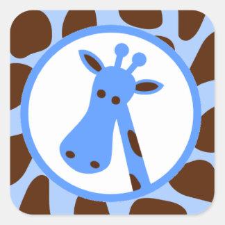 Blue and Brown Giraffe Spots and Giraffe Head Square Sticker