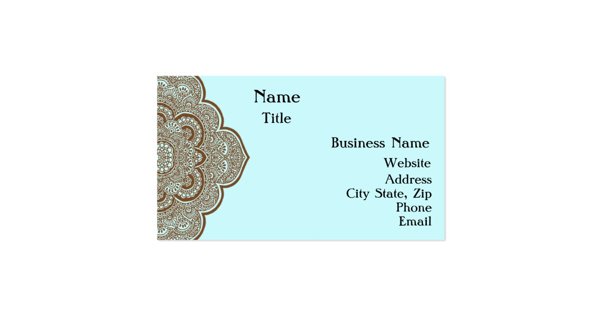 Blue and brown henna business card zazzle for Henna business cards