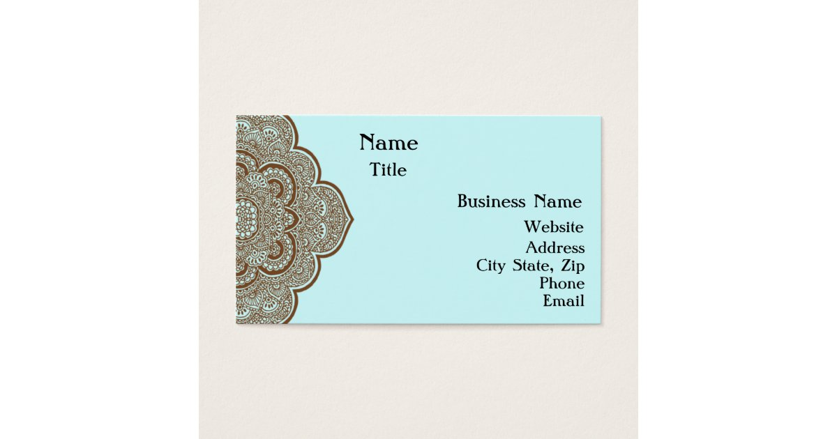Blue and brown henna business card zazzlecom for Henna business cards