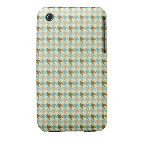 Blue and Brown Houndstooth iPhone 3 Case