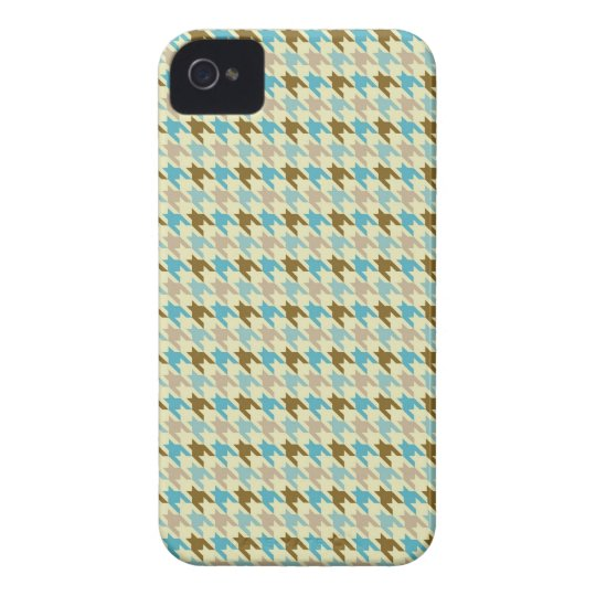 Blue and Brown Houndstooth iPhone 4 Case
