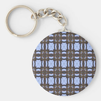 Blue and Brown Kaleidoscope Basic Round Button Keychain