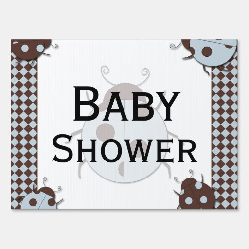 blue and brown ladybug baby shower yard sign
