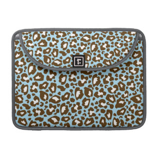 Blue and Brown Leopard Spotted Animal Print MacBook Pro Sleeve