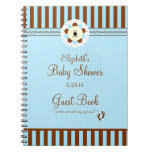 Blue and Brown Lion-Baby Shower Guest Book- Note Books