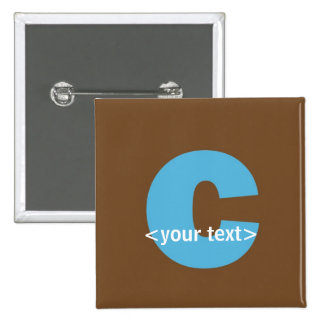 Blue and Brown Monogram - Letter C Buttons