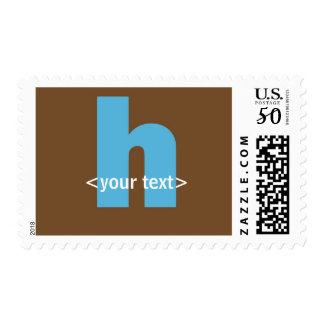 Blue and Brown Monogram - Letter H Postage