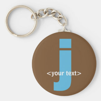 Blue and Brown Monogram - Letter J Basic Round Button Keychain