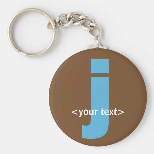 Blue and Brown Monogram - Letter J Key Chain