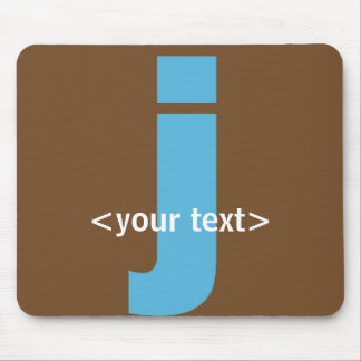 Blue and Brown Monogram - Letter J Mouse Pad