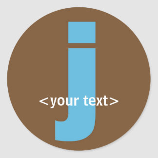 Blue and Brown Monogram - Letter J Classic Round Sticker