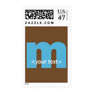 Blue and Brown Monogram - Letter M Postage Stamp