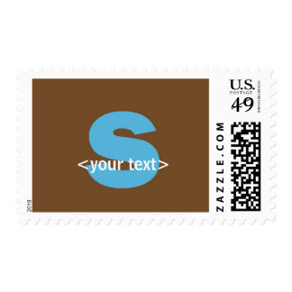 Blue and Brown Monogram - Letter S Postage