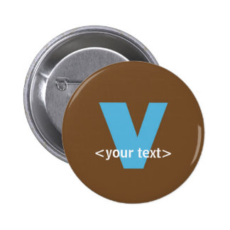 Blue and Brown Monogram - Letter V Button