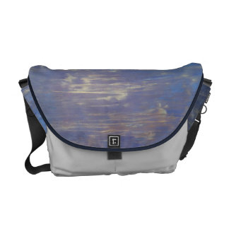 Blue and Brown Original Textured Painting Courier Bag