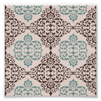 Blue and Brown Ornamental Damask Style Pattern Photo Print