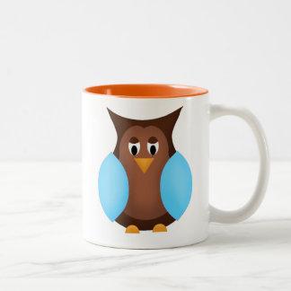 Blue and Brown Owl Coffee Mug