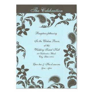 Blue and Brown Paisley Floral 4.5x6.25 Paper Invitation Card
