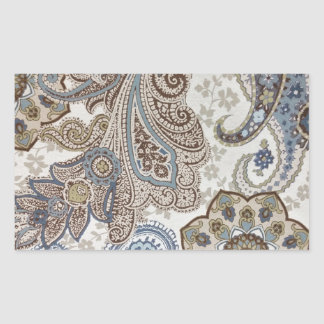 Blue and Brown Paisley Pattern Rectangular Sticker