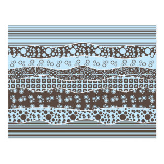 Blue and Brown Patterns Postcard