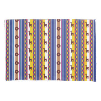 Blue and brown peruvian Llama Pattern Pillow Case