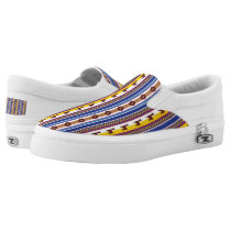 Blue and brown peruvian Llama Pattern Slip-On Sneakers