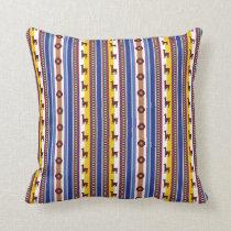 Blue and brown peruvian Llama Pattern Throw Pillow