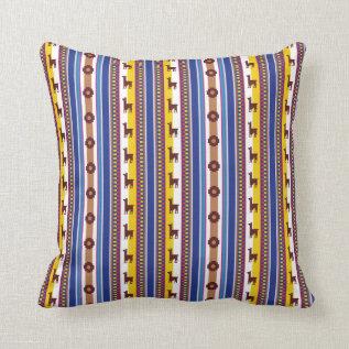 Blue And Brown Peruvian Llama Pattern Throw Pillow at Zazzle