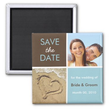 Beach Themed Blue and Brown Photo Save the Date Magnets
