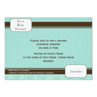 Blue and Brown Pinstripe Baby Shower Invitation