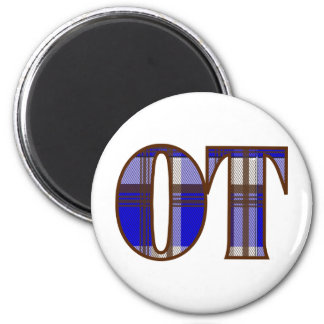 Blue and Brown Plaid 2 Inch Round Magnet