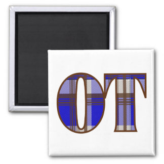 Blue and Brown Plaid 2 Inch Square Magnet