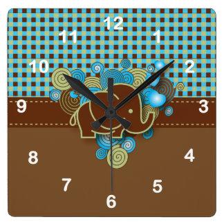 Blue and Brown Plaid Baby Elephant Designs Square Wallclocks