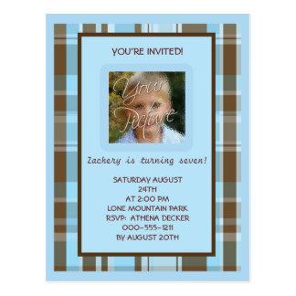 Blue and Brown Plaid BIrthday Invitation Postcard
