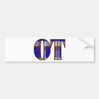 Blue and Brown Plaid Bumper Sticker