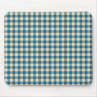 Blue and Brown Plaid Mouse Pad